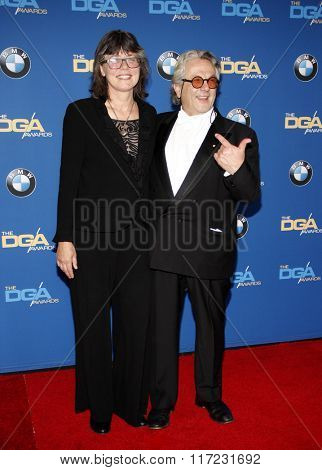 Margaret Sixel and George Miller at the 68th Annual Directors Guild Of America Awards held at the Hyatt Regency Century Plaza in Los Angeles, USA on February 6, 2016.