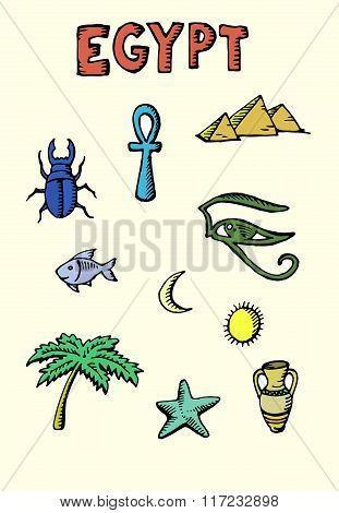 Colored Egypt icons set
