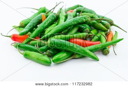 Green And Red Chilis Isolated On White Background