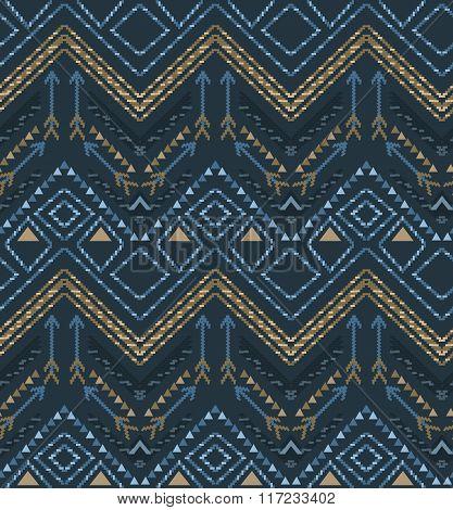 Vector ethnic seamless tribal boho pattern