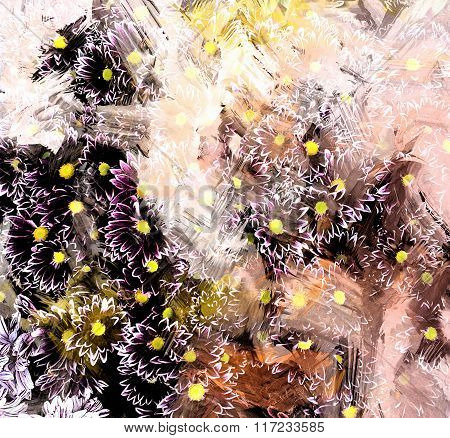 Floral Grunge Striped And Stained Background With Stylized Sketching Small Chrysanthemums