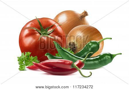 Mexican Vegetables Set Tomato Onion Chili Pepper Parsley Isolated