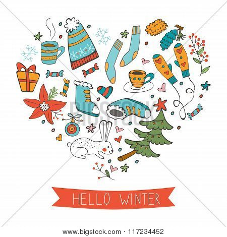 Hello winter cute hand drawn card with winter graphics composed in a shape of a heart