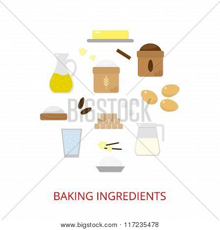 Baking ingredients composed in circle shape.