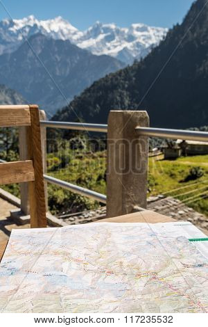 Hikking map on a table