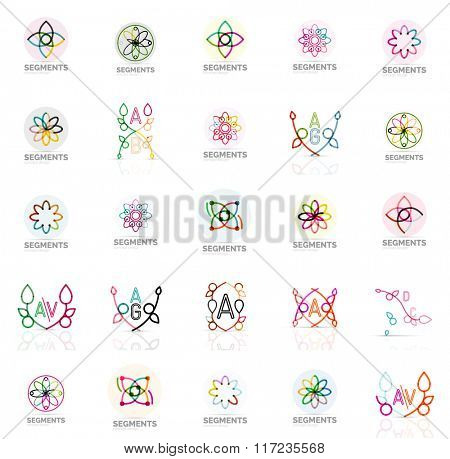 Set of vector linear logotypes, geometric abstract symbols, elegant icons