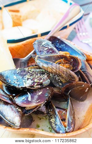 Steamed Mussels, Decorated With A Slice Of Lemon.