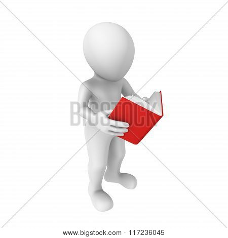 3D Man Reads The Book