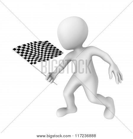 3D Man With Checkered Flag