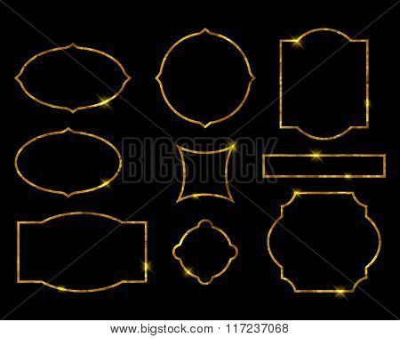 Beautiful golden frames set. Luxury vector illustration.