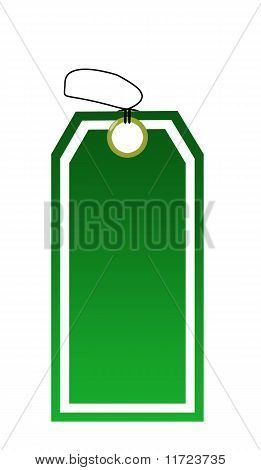 Green Tag Isolated On White Background
