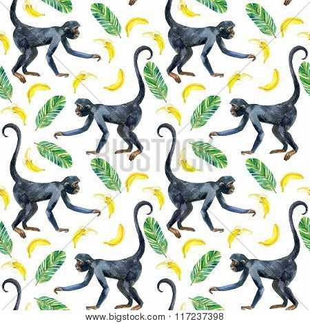 Monkey Seamless Pattern.