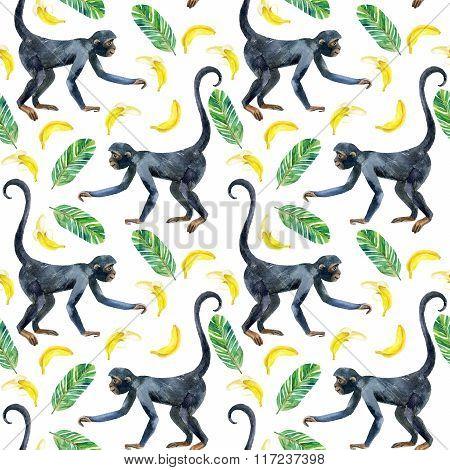 Monkey Seamless Pattern.