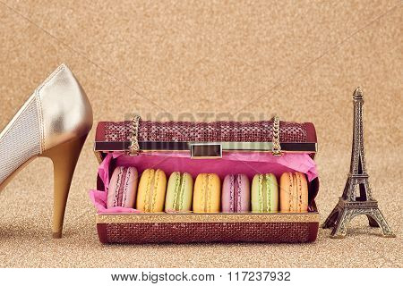 Macarons,fashion handbag,gold.Eiffel Tower.Vintage
