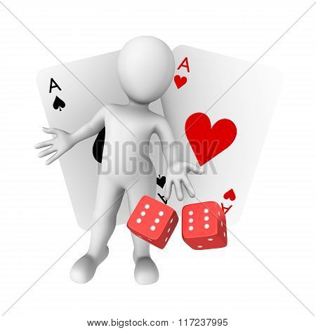 3d white human with with cards and dice