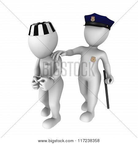The Policeman Escorts The Prisoner