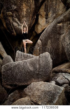 Summer Yoga Session On Rocks