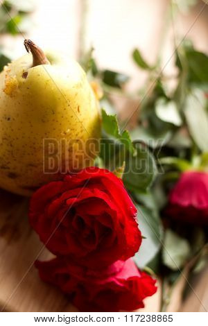 Pear and roses