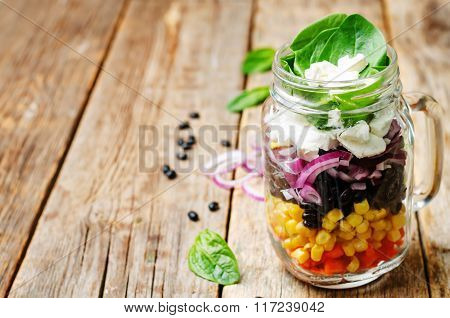 Carrot Corn Black Beans Red Onion Feta Spinach Salad
