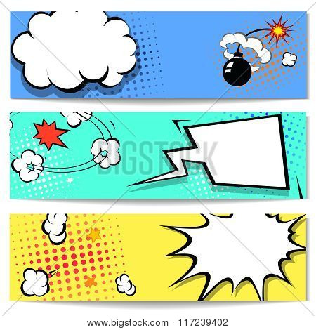 Comic speech bubble web header set with Explosion