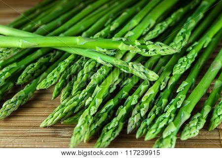 Heap Of Fresh Green Asparagus For Cooking