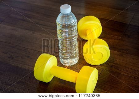 Equipment Sports For Fitness Two Yellow Dumbbells
