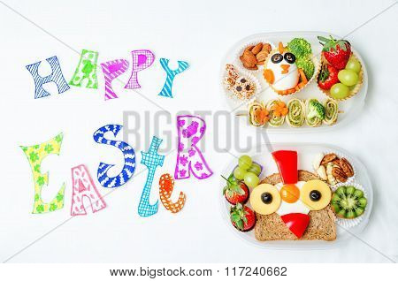 Happy Easter Words With School Lunch Boxes For Kids With Food In The Form Of Funny Faces