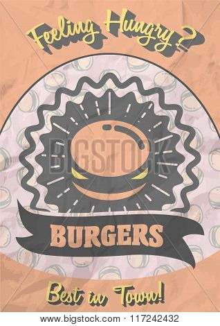 Retro Poster Design With Hot, Tasty, Delicious Burger. Vintage Style Hamburger Sign  Background.