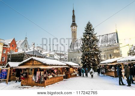 View Of The Christmas Market On Town Hall Square In Tallinn In Winter . Estonia.