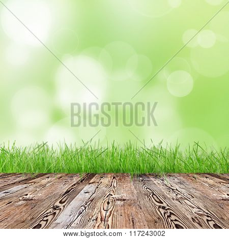 Nature background with wooden table with space for your product.