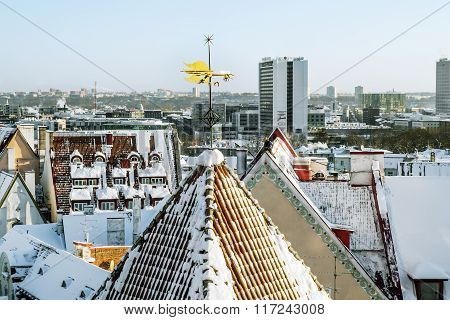 The Weather Vane On The Roof Of The Old Town In Tallinn In Winter. Estonia.