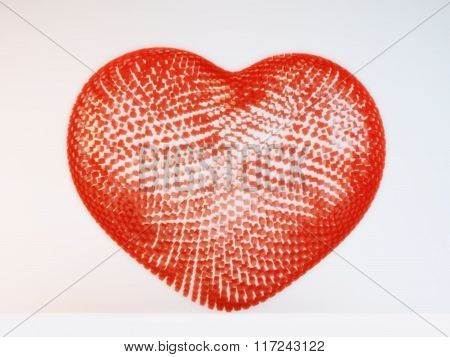 Happy Valentines Day.3D illuminated neon heart of glowing particles