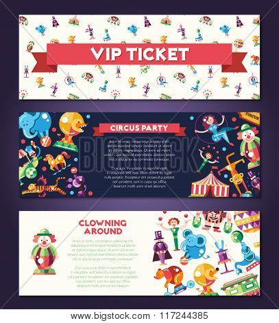 Circus, carnival icons and infographic elements banners set
