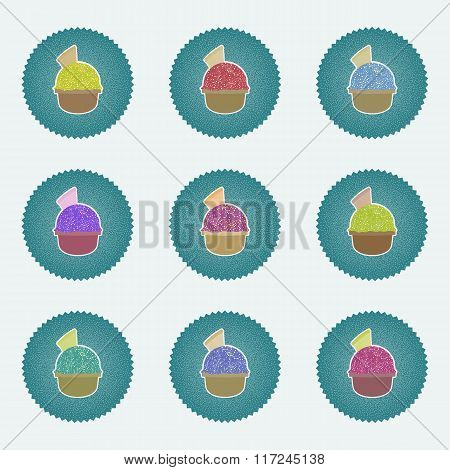 Set of Ice Cream in the cup sign icons. Sweet symbol. Realisitc illustrations retro lables, web icon