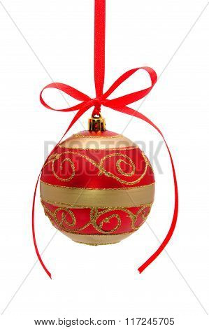 Red-golden Christmas Ball With Red Bow Isolated On White