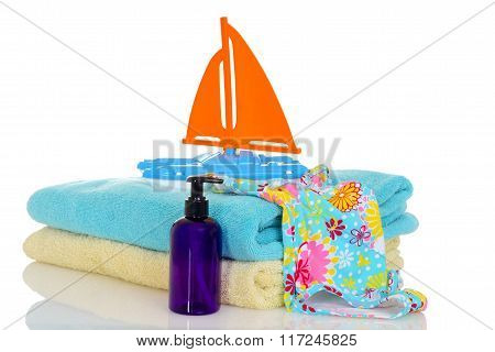 child bathing suit towels toy ready for beach
