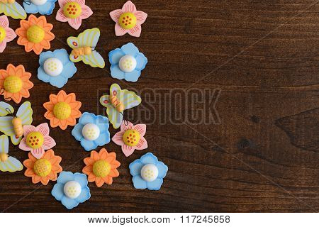 flowers and butterflies on wood