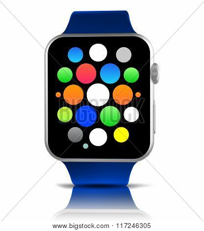 Blue Generic Smart Watch With Icons