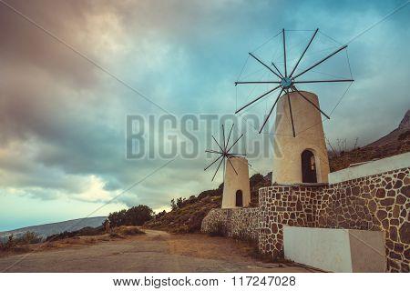 The Famous Tradition Windmills On Crete Island, Lassithi, Greece