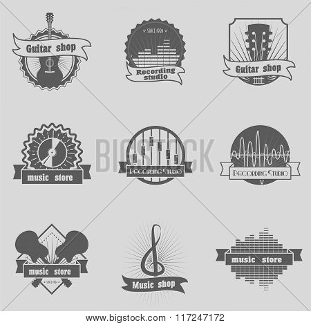 Set Of Music Shop, Recording Studio, Karaoke Club Monochrome Labels, Badges, Emblems And Logos, Bran