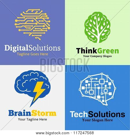 Set Of Brain Logo, Icons And Design Elements