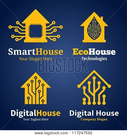 Set Of Smart House Logo, Icons And Design Elements