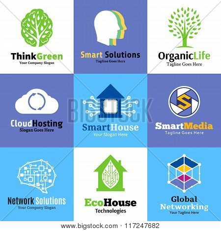Vector Technology, Network And Science Logo, Icons And Design Elements