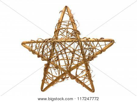 Golden Christmas Star On White Background