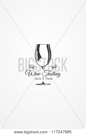 Vector Design Element. Illustration Of Wine Glass Silhouette With Decorative Ornametom. The Template