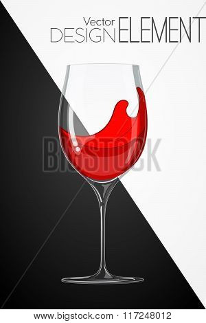 Glass With Red Wine On Abstract Black And White Background. Strict Artsy Style. Colored Cartoon Vect