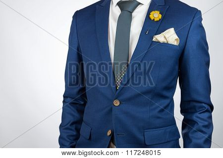 Man Blue Suit Necktie, Brooch, Pocket Square