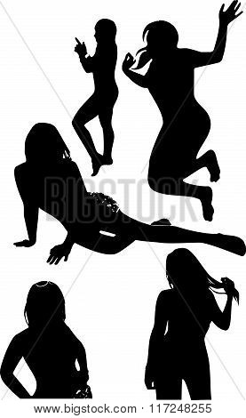 Vector Set Of Black Silhouettes Of Girls In Unusual Positions Of The Movement. Women In Elegant Pose