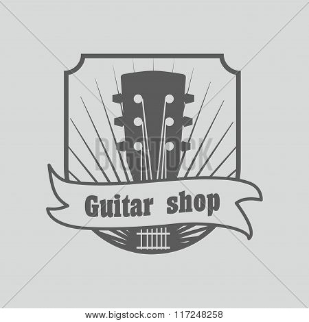 Vintage Logo, Badge, Emblem Or Logotype Elements For Music Shop, Guitar Shop. Can Be Used For Design