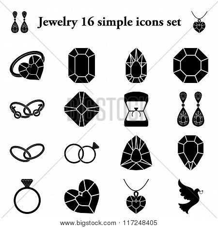 Jewelry 16 simple icons set